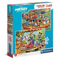 Puzzle 2x60 Super Kolor Mickey and friends