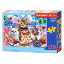 Puzzle 120 Kittens with Flowers CASTOR